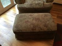 Well used but in good condition, large sofa, snuggled and foot stool, Made in America (Thomasville)
