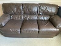 3 seater brown leather sofa - Free - Need to be gone by this Friday - buyer to collect