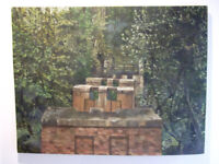 Oil painting by HM MAXWELL, woodland scene with old railway bridge constructions, £250