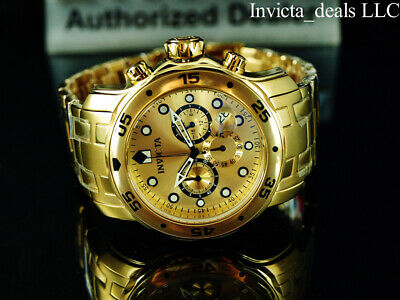 NEW Invicta Men's 48mm PRO DIVER SCUBA Chronograph Gold Dial Gold Tone SS Watch