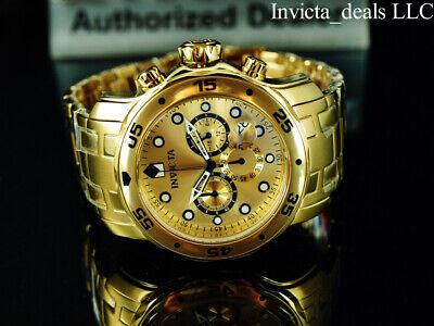 NEW Invicta Men's 48mm PRO DIVER SCUBA Chronograph Gold Dial Gold Tone SS Watch