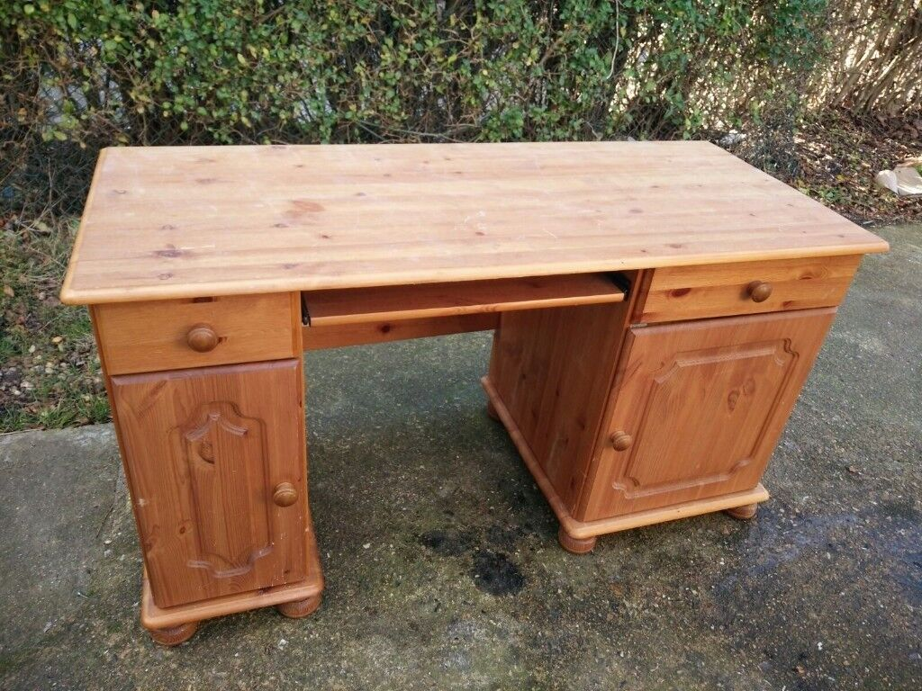 Pine Desk With Keyboard Shelf Drawers Cabinets