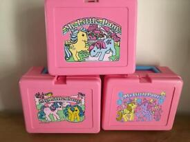 Vintage new 1980s MLP lunchboxes and flasks