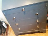Grey painted desk with 4 drawers