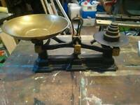 Vintage grocer scales and weights