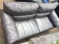 Bargain! High quality 3 seater leather sofa in slate grey (brown tinge). FREE DELIVERY TODAY NOTTS