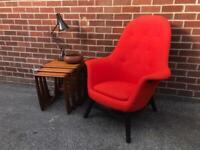 Orange Chesterfield Wingback Armchair Danish BENARP Chair Scandinavian Mid Century Style