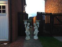 Cast Iron Cherub Statues