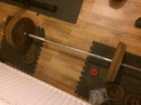 5ft weight bar and 120kg metal weight plate **SOLD**