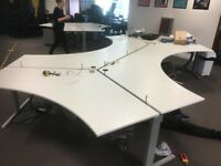 White 4-pod office desks