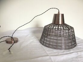 INDUSTRIAL COPPER/BRASS CAGE CEILING LAMP WITH LARGE BULB