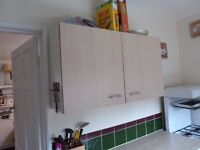 KITCHEN CUPBOARD CABINETS AND BASE UNIT WITH END SHELVES.