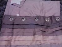 Curtains 66 x 90 eyelet mink and light brown with tie backs exc cond