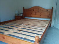 Wooden bed (double) and silentnight mattress