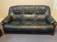 3x Oak Framed Leather Sofas Upholstered In Genuine Leather Blue Black
