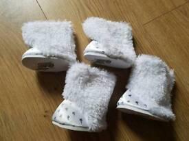 Build A Bear 4 x white furry boots