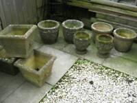 Garden stone pots individually priced £10-30