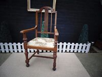 SOLID OAK GRANDFATHER CHAIR ABSOLUTELY BEAUTIFUL CHAIR VERY SOLID AND IN EXCELLENT CONDITION