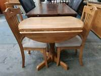 Pine drop leaf table with 2 chairs