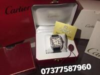 Cartier Santos 100 Diamonds Iced Out New With Box And Papers