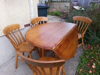 Pine table and 4 chairs - can be split