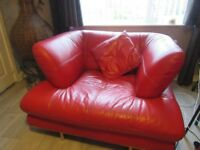 red leather Italian leather Armchair, And pouffee