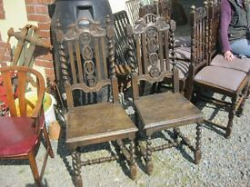 VINTAGE MATCHING PAIR OF ORNATE OAK CHAIRS. VERSATILE LOCATION USAGE. VIEW/DELIVERY AVAILABLE