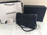 Chanel 2.55 bag. Genuine black lambskin leather black chain