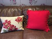 Laura Ashley Home floral cream and red cushion and Cargo Red Cushion