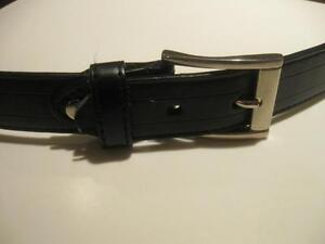 "MAN'S 34"" BLACK BELT with POLISHED CHROME BUCKLE"