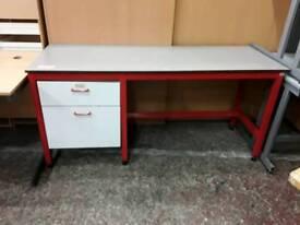 Red Metal Framed Grey Topped Office Desk