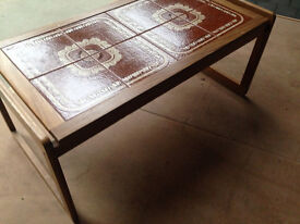 LONG G-PLAN TILE TOP COFFEE TABLE EARLY 1960s.