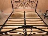 Black metal double bed frame in good condition