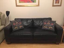 2 x identical black leather sofas £250 for both