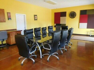 Office Conference Glass Table W 10 Chairs