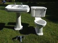 Pedestal Basin and WC complete. With bath/shower mixer. Used