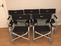 5x Hi Gear Delaware chairs - black Director style - folding side table