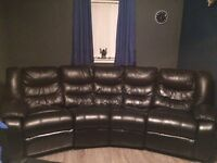 5 seater black leather sofa with rocker recliners and rocker recliner chair £250