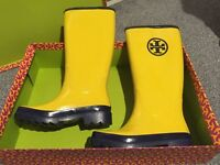 Tory Burch Logo Banana Yellow Rainboot, Wellies , High , Size 6
