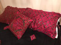HAND STITCHED DOUBLE BED SHEET SET & 5 CUSHION CASES