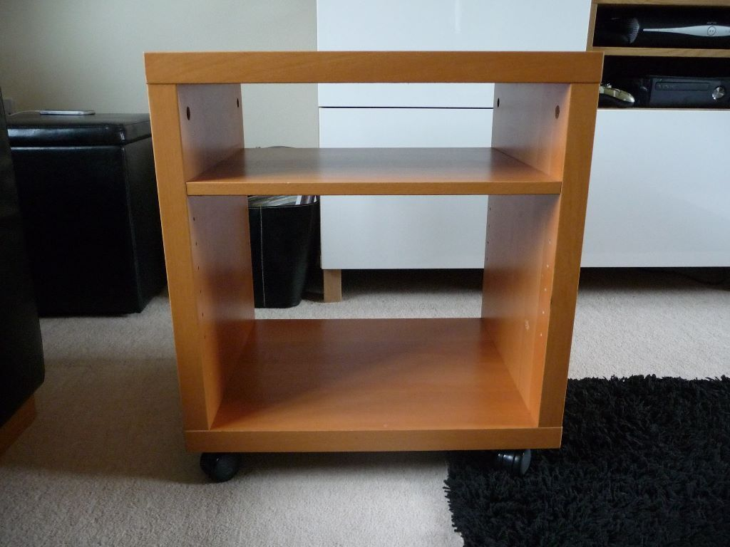 Ikea beech hi fi unit side table on castors in chandlers - Mobile hi fi ikea ...