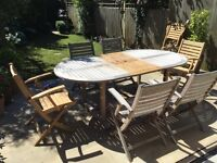 Hardwood patio table and chairs