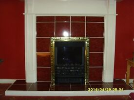 Fan electric fire with fireplace surround