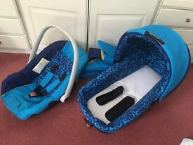 Jane Nurse car seat and carry cot blue