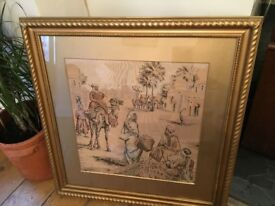 Antique Tapestry Pic Gilt Frame over Wood