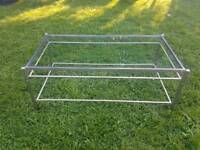 Silver metal Coffee Table with glass top. Free