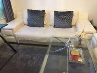 White leather modern sofa, 3 and 2 seater
