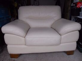 Cream leather 3 seat sofa plus 2 chairs plus footstool for sale