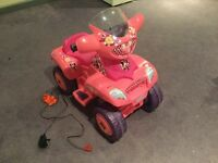 Girls Pink Mini Mouse Electric Quad Bike, used but in good condition.