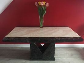 Gorgeous Tenore Marble Dining Table with 6 Alpine Leather Chair